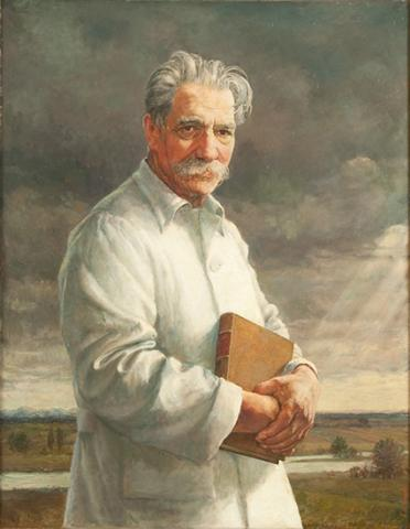 Oil painting of a white man with grey hair and moustache. He is standing in front of a flat countryside scene, wearing a white lab coat and holding a book.