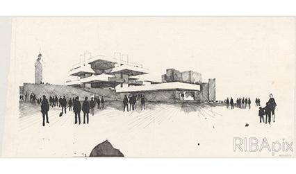 Pencil sketch of a modernist building