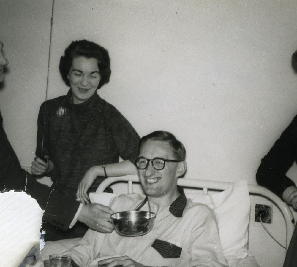 John Bennett in bed with glandular fever, 1958