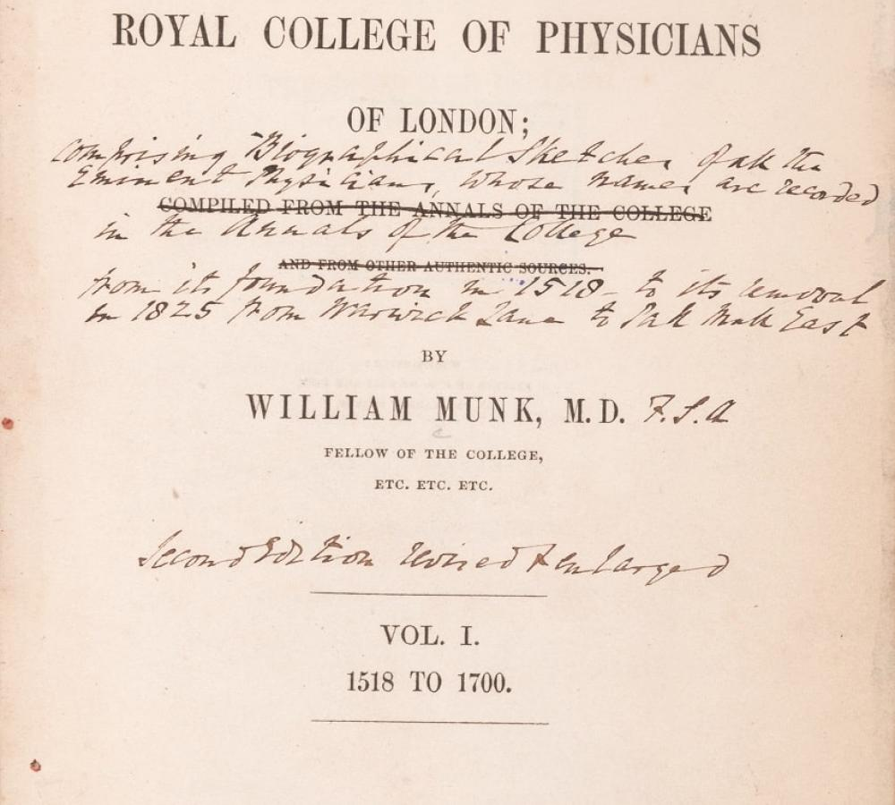 Title page from The roll of the Royal College of Physicians of London