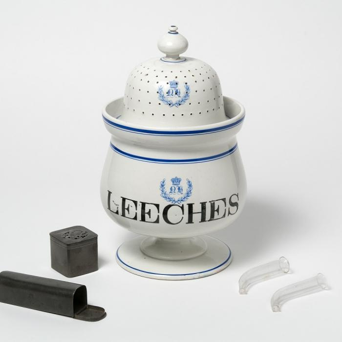 Leech jar, boxes and applicators, 19th century