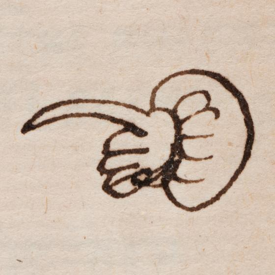 A hand-drawn manicule (pointing hand).