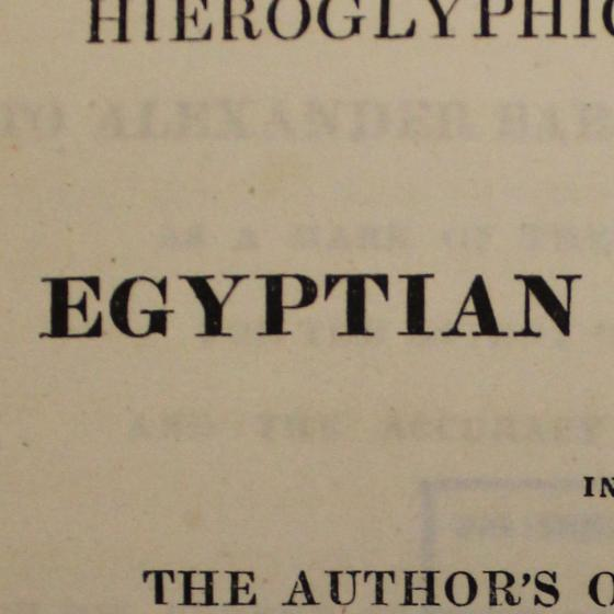 Title page of a book reading 'Egyptian'.