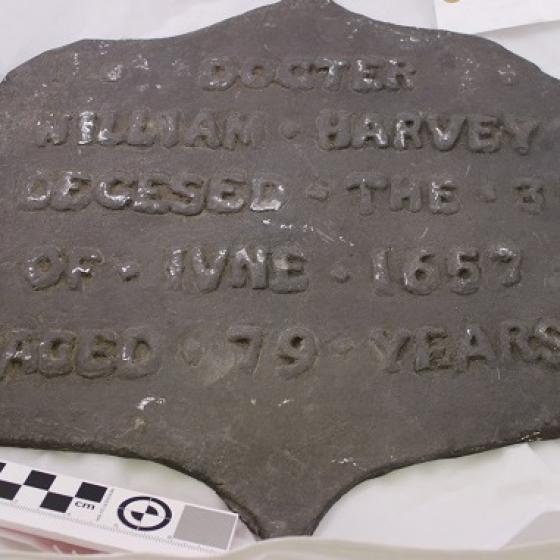 A metal plaque reading 'Docter William Harvey Decesed the 3 of Iune 1657 aged 79 years'.