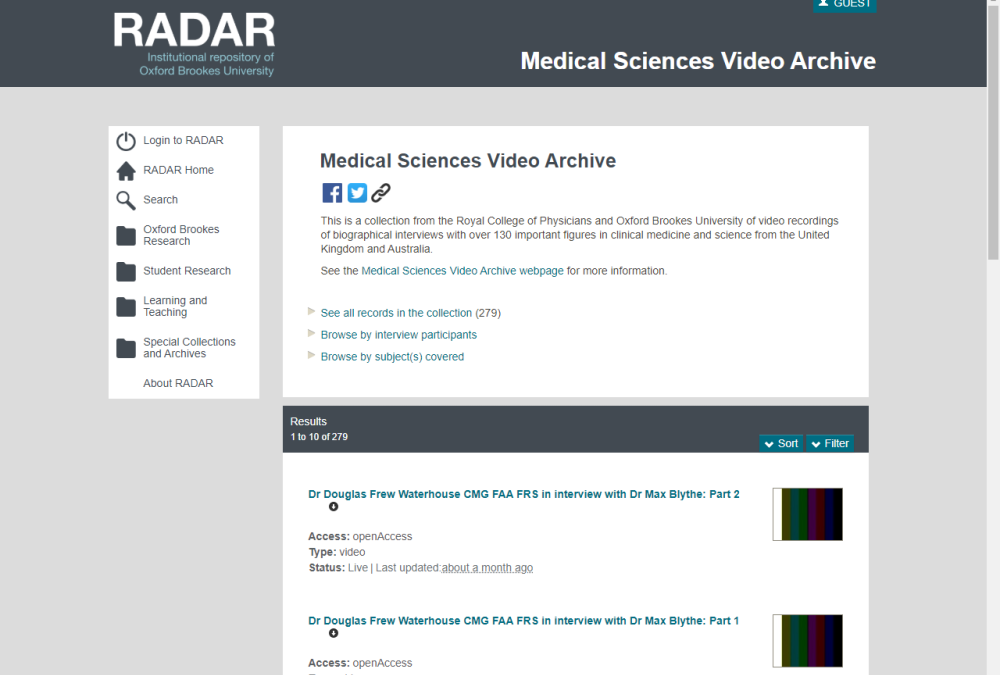 Medical sciences video archive