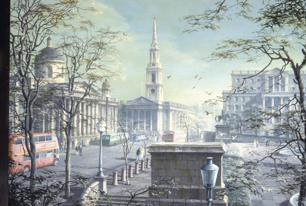 Painting of Trafalgar Square from Pall Mall East by Felix Runcie Kelly (1914–1994)