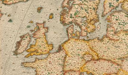 Europe map in La cosmographie universelle, Thevet, published in Paris, 1575