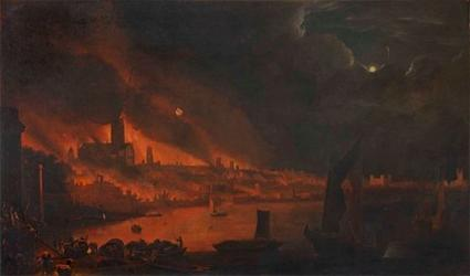 Detail of St Paul's Cathedral from The Great Fire of London, oil on canvas by unknown artist, 1666-1700, by kind permission of The Society of Antiquaries of London